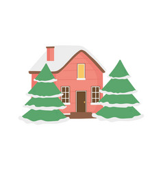cute house and trees with snow decoration vector image