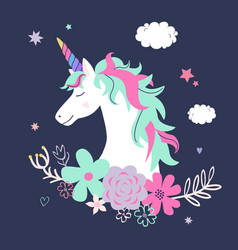 Cute unicorn with flowers modern magical vector