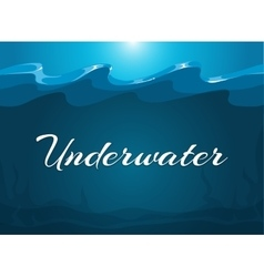 Deep blue moody underwater background vector