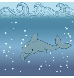 dolphin under water vector image