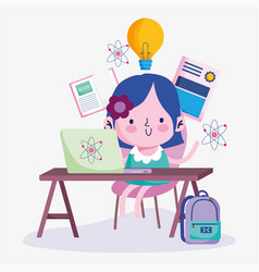 Education online cute girl student with desk vector