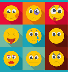 Emotional instability icons set flat style vector