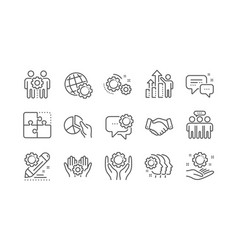 Employees benefits line icons business strategy vector