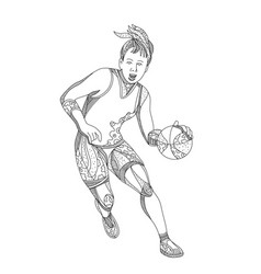 Female basketball player doodle art vector