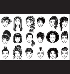female hairstyle icons set advertising elegant vector image