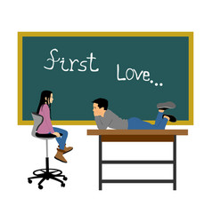 first love young boy and girl in classroom romance vector image