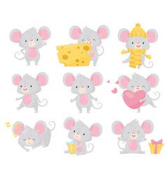 flat set of little mouse in different vector image