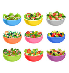 Flat set of vegetable and fruit salads vector