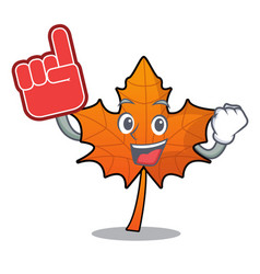 Foam finger red maple leaf mascot cartoon vector