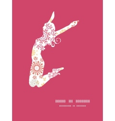 Folk floral circles abstract jumping girl vector