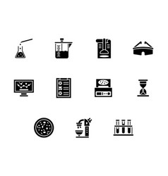 Forensic laboratory glyph style icons set vector