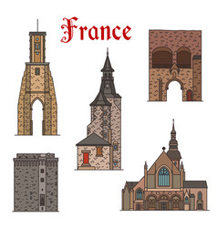 France landmarks architecture line icons vector