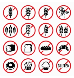 Gluten free signs no wheat no bread no cake vector