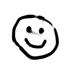 Graffiti grunge emoji with black ond white colour vector