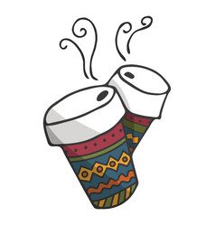 hand drawn paper cups with hot vector image