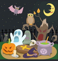 Happy halloween concept cartoon style vector