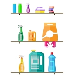 Household products on plastic shelves vector