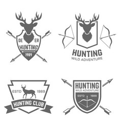 Hunting club black labels badges emblems vector