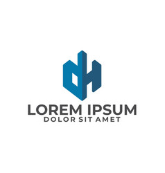 Initial letter dh logo template with building icon vector
