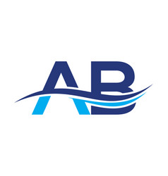 Initial letter logo ab with a wave vector