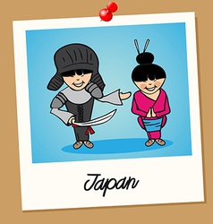 Japan travel polaroid people vector image
