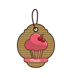 label cup cake icon with delicious cherries vector image