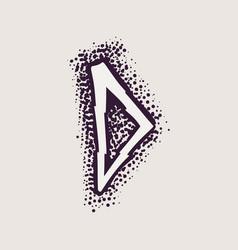 Letter d rune logo on dots background vector