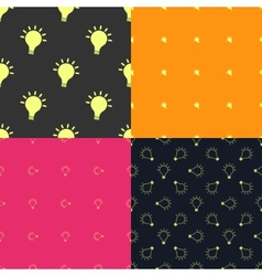 Light bulb creativity seamless patterns set vector image