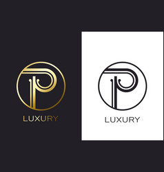 logo p monogram gold letter seal mockup elegant vector image