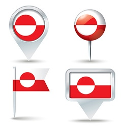 Map pins with flag of greenland vector
