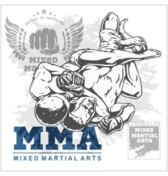 Match two fighters of martial mixed arts vector