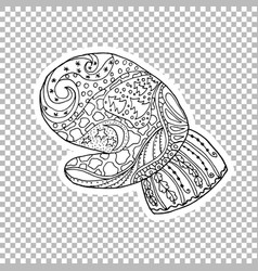 mitten linear hand drawn vector image