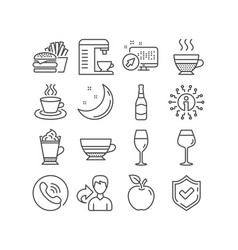 Mocha tea cup and wineglass icons latte coffee vector