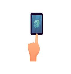 modern smartphone fingerprint security touch vector image