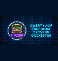 Neon glowing sign of burger with alphabet in vector