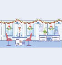 office decorated christmas garlands flat vector image