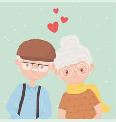 old people happy grandparents mature couple love vector image