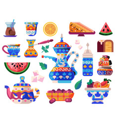 Oriental tea ceremony set with sweets and kettles vector