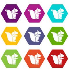 origami squirrel icons set 9 vector image