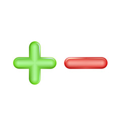Plus and minus icon green red symbol ui ad vector