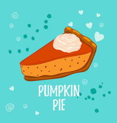 Pumpkin pie with whipped cream isolated on blue vector