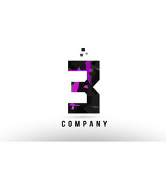 purple black number 3 logo design vector image