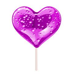 Purple lollipop in the shape of a heart design vector
