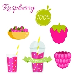 Raspberry fruit and smoothie juice set vector
