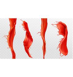realistic splash and stream tomato juice vector image