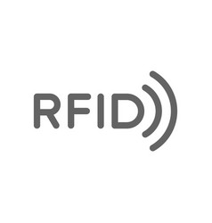 rfid word with radio wireless waves line icon vector image