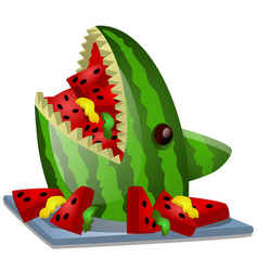 Ripe watermelon cut in shape a shark head vector