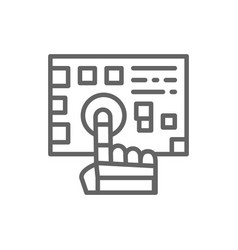 robot arm presses on button line icon vector image