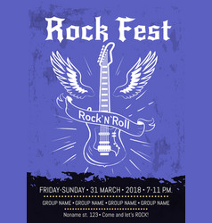 Rock n roll fest announcement poster design vector