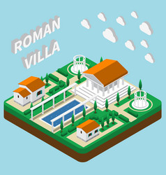 roman villa isometric composition vector image